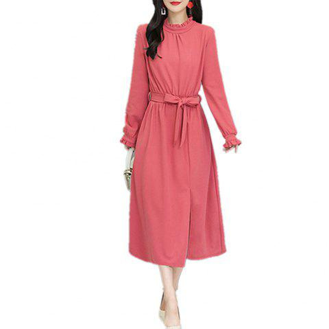 Women's Aline Dress Solid Color Ruffled Collar Sash Split Dress - PINK 2XL