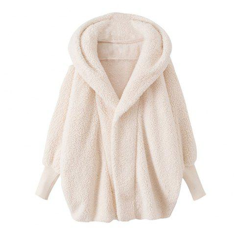 Women'S Plus Size Hooded Sleeve Fashion Coat - WHITE L