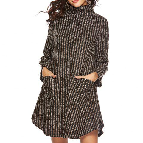Striped and Thickened Woolen Pocket Coat - multicolor A L