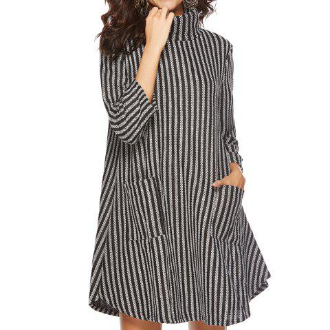 Striped and Thickened Woolen Pocket Coat - multicolor B XL