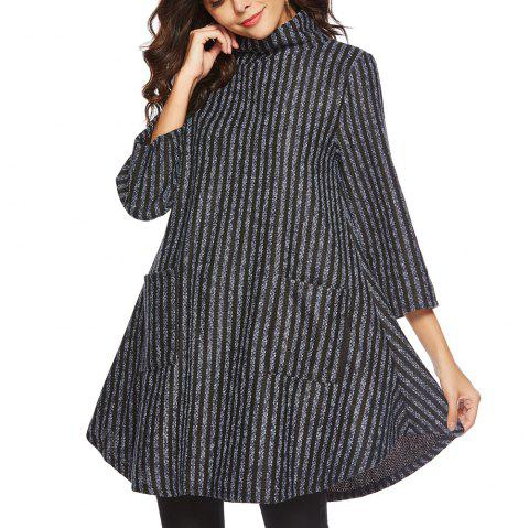 Striped and Thickened Woolen Pocket Coat - multicolor C L