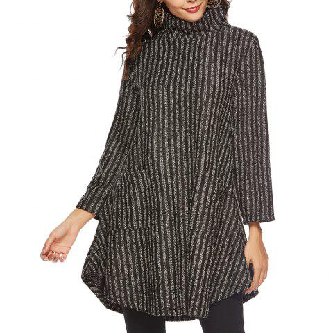 Striped and Thickened Woolen Pocket Coat - multicolor D XL