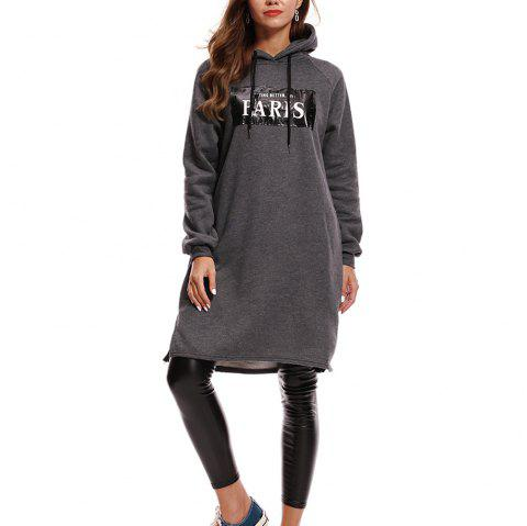 Decal Hooded Tunic Hoodie - ASH GRAY L