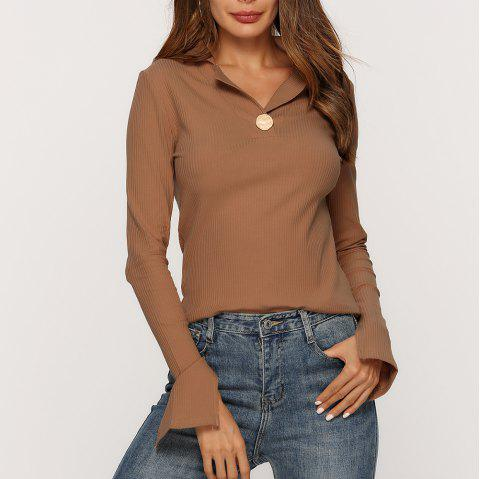 Stand Collar Slit Knit Stretch Slim T - Shirt - BROWN L