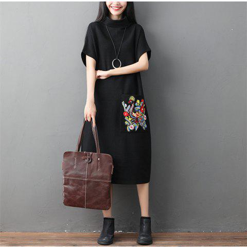 A High-Necked Knit Embroidered Dress - BLACK XL