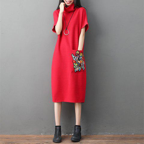 A High-Necked Knit Embroidered Dress - RED M