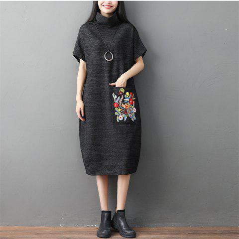 A High-Necked Knit Embroidered Dress - DARK SLATE GREY M