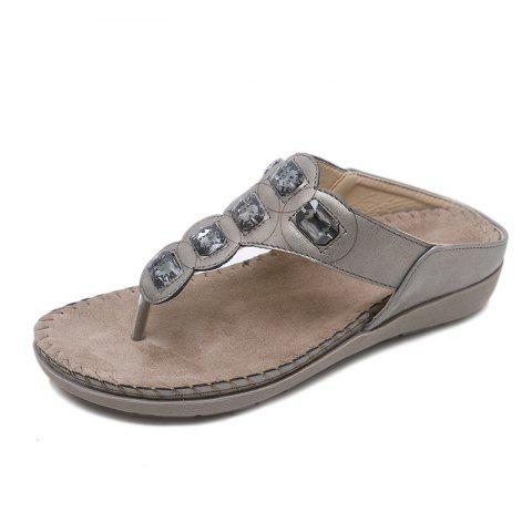 Women's Sandals Bohemian Diamond Large Flat Shoes - GRAY EU 42