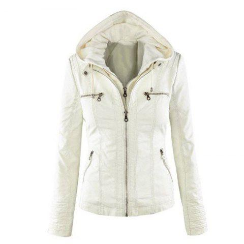 2018 fashion Jacket Female Jacket Detachable Lapel Long Sleeve Solid Color Zipp - WHITE L