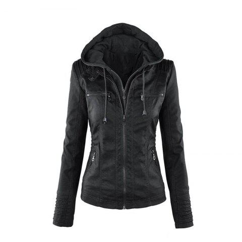 2018 fashion Jacket Female Jacket Detachable Lapel Long Sleeve Solid Color Zipp - BLACK 4XL