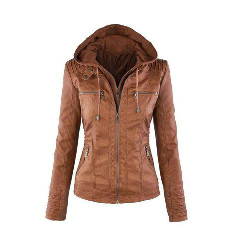 2018 fashion Jacket Female Jacket Detachable Lapel Long Sleeve Solid Color Zipp - BROWN L