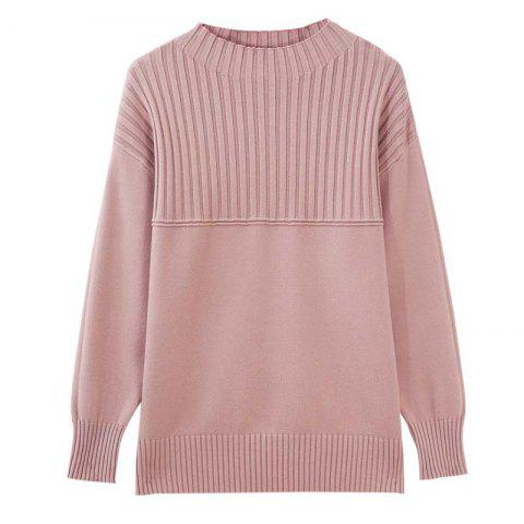 Long Sleeve Thick Round Collar Knitting - LIGHT PINK L