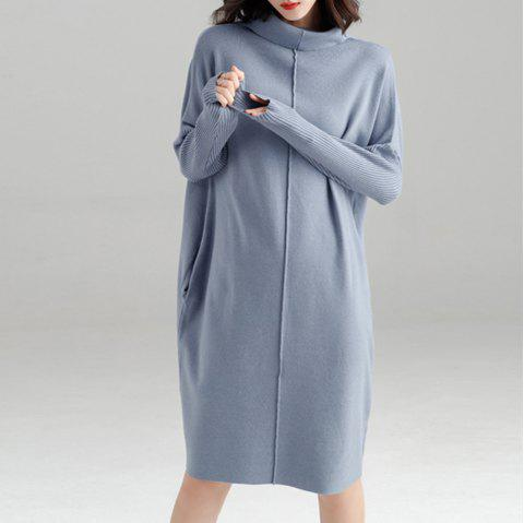Autumn and Winter Loose High Collar Sweater Skirt - BLUE GRAY M