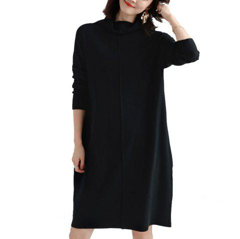 Autumn and Winter Loose High Collar Sweater Skirt - BLACK L