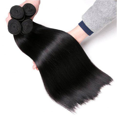 Indian Hair Bundles Raw Indian Straight Human Hair Bundles Human Hair Weaving - NATURAL BLACK 12INCH X 12INCH X 12INCH