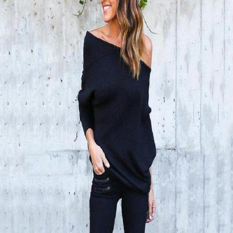 Sexy Off-The-Shoulder Bat Sleeve Thread T-Shirt Blouse for Women - BLACK L