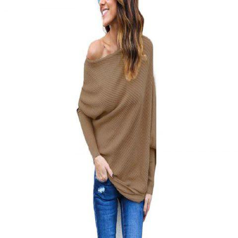 Sexy Off-The-Shoulder Bat Sleeve Thread T-Shirt Blouse for Women - CAMEL BROWN M