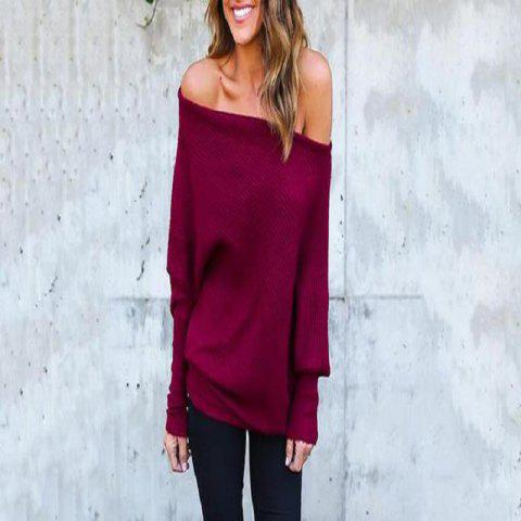 Sexy Off-The-Shoulder Bat Sleeve Thread T-Shirt Blouse for Women - RED WINE L