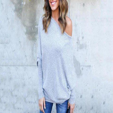 Sexy Off-The-Shoulder Bat Sleeve Thread T-Shirt Blouse for Women - GRAY M