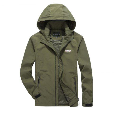 Men'S Large Size Outdoor Wind Casual Hooded Jacket - ARMY GREEN M