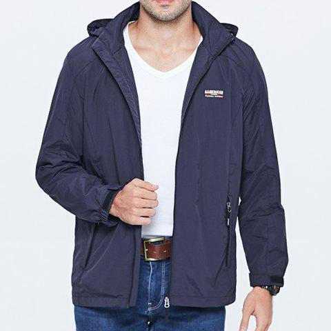 Men'S Large Size Outdoor Wind Casual Hooded Jacket - DEEP BLUE 4XL
