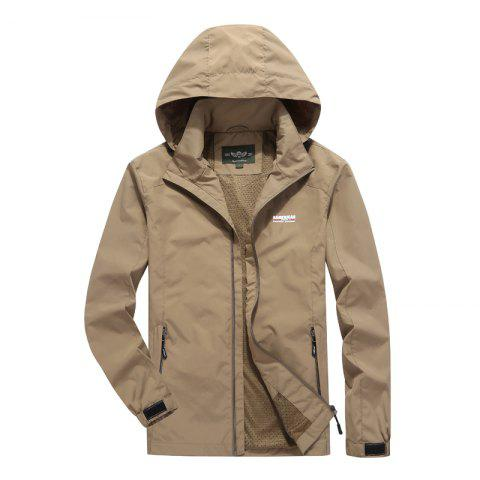 Men'S Large Size Outdoor Wind Casual Hooded Jacket - KHAKI M