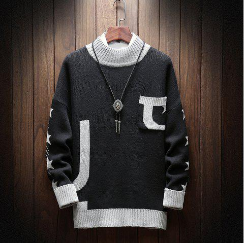 Fashion Men Long Sleeve Sweater Plus Size Turtleneck Sweater Pocket Sweatershirt - BLACK 3XL