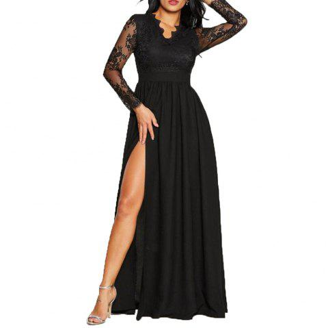 Women's Sexy Lace Evening Dress - BLACK XL