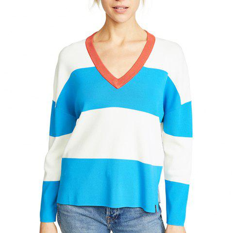 Plus V-Neck Hit-Knit Stitching Sweater - multicolor A M