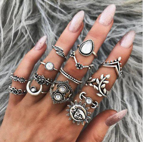 14-PIECE Women'S Fashion Ring Vintage Leaf Moon Flower Bohemian Ring - SILVER 1 SET