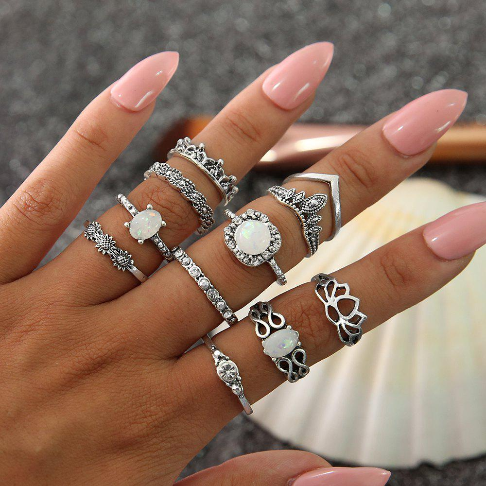 Image of 11 PCS/Set Vintage Knuckle Opal Rings for Women Boho Geometric Flower Ring