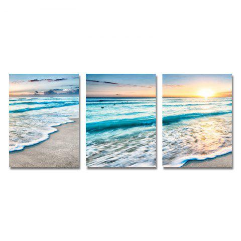 DYC 3PCS Beach Wave Sunrise Scenery Print Art - multicolor