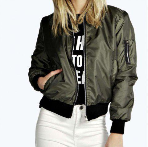 Solid Color Fashion Zipper Jacket - ARMY GREEN L