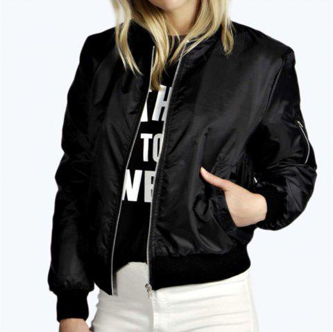 Solid Color Fashion Zipper Jacket - BLACK L