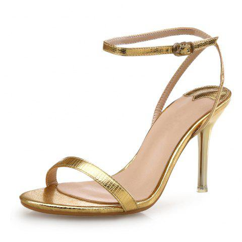 Thin Belt High Heel Buckle Sexy Female Sandals - GOLD EU 40