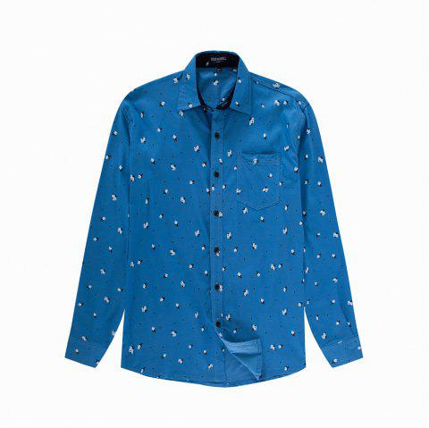 Men's New Long Sleeve Casual Printed Elastic Shirt - SKY BLUE XL