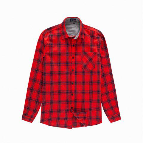 Man New Long Sleeve Cotton Plaid Casual Shirt - RED M
