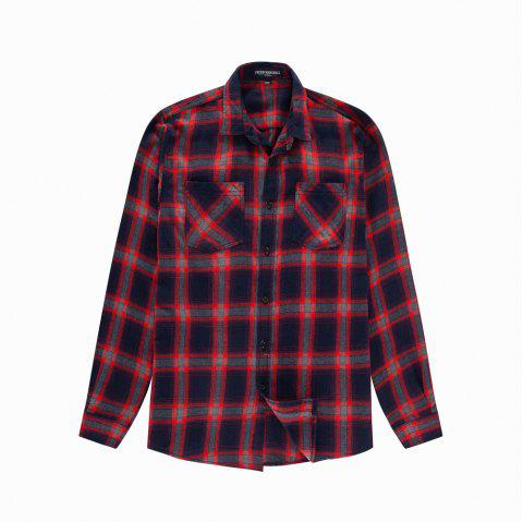 Men's New Long Sleeve Cotton Plaid Casual Pocket Shirt - RED XL