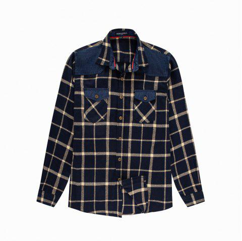Men's New Long Sleeve Cotton Plaid Casual Fashion Shirt - DEEP BLUE M