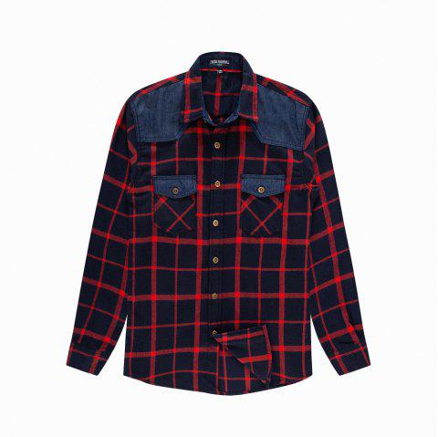 Men's New Long Sleeve Cotton Plaid Casual Fashion Shirt - RED 3XL