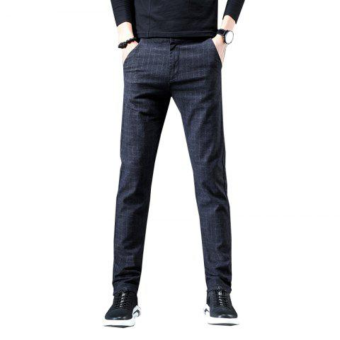 Men'S Fashion Casual Plaid Trousers Work Work Party Pants 519 - BLACK 33