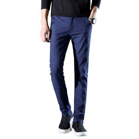Men'S Fashion Casual Plaid Trousers Work Work Party Pants 519 - CADETBLUE 30