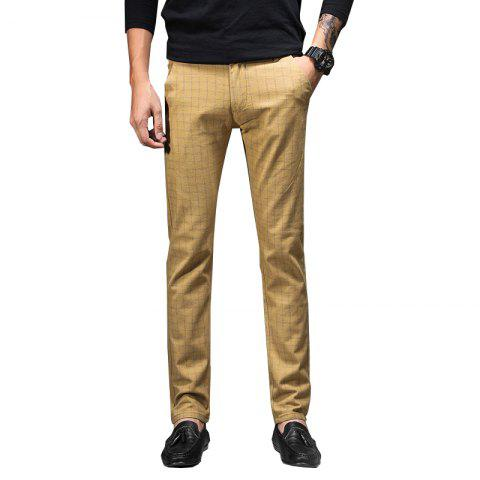 Men'S Fashion Casual Plaid Trousers Work Work Party Pants 519 - SUN YELLOW 33