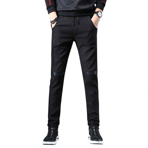 Men'S Fashion Casual Pants Youth Trend Stitching Stretch Sweatpants Trousers 815 - BLACK L