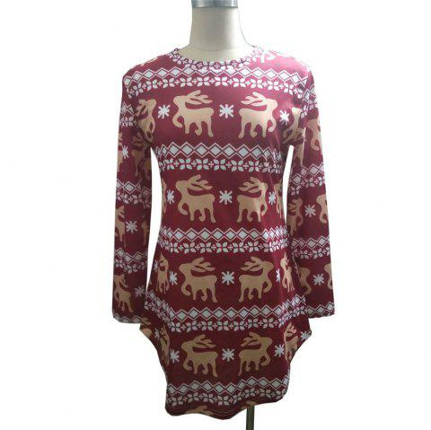 Hot Style Spot Christmas new Round Collar Digital Snowflake Deer Print T-shit - RED WINE L