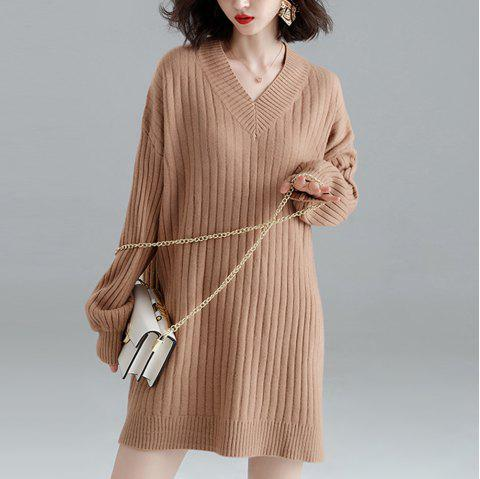 Mid-Length Long Lazy Wind Hooded Loose Knit Dress - LIGHT KHAKI ONE SIZE