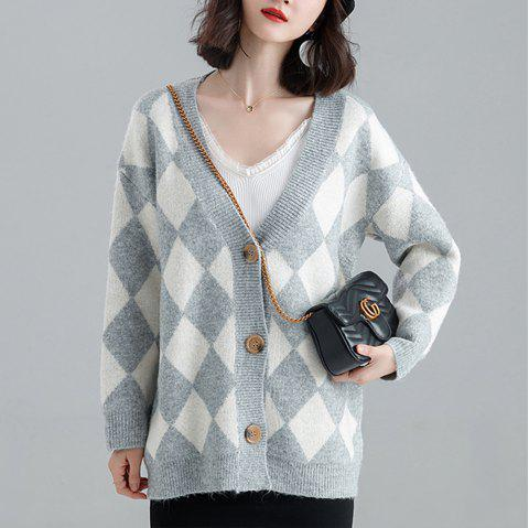 Autumn and winter V-neck loose long-sleeved plaid sweater - LIGHT SLATE GRAY ONE SIZE