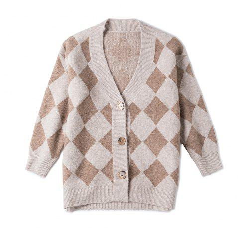 Autumn and winter V-neck loose long-sleeved plaid sweater - BLANCHED ALMOND ONE SIZE