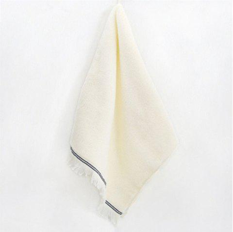 Classic Light and Elegant Absorbent Cotton Tassel Adult Towel - WARM WHITE 1PC