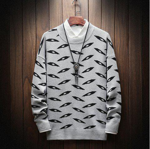 New Long-Sleeved Men Fashion Sweater Plus Size Pullover - COOL WHITE L